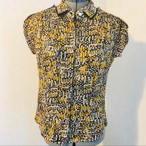 W by Worth cotton button blouse black & yellow 6